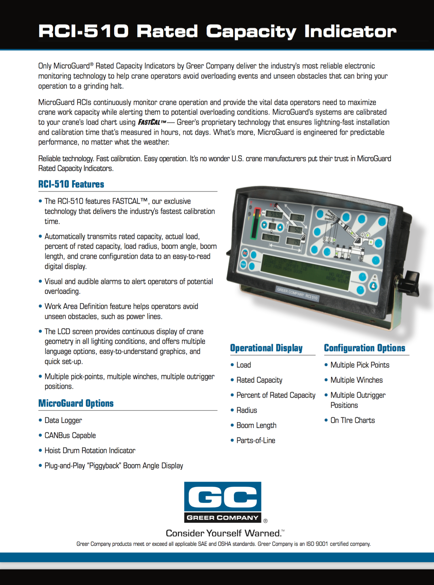 Greer MG510 Data Sheet